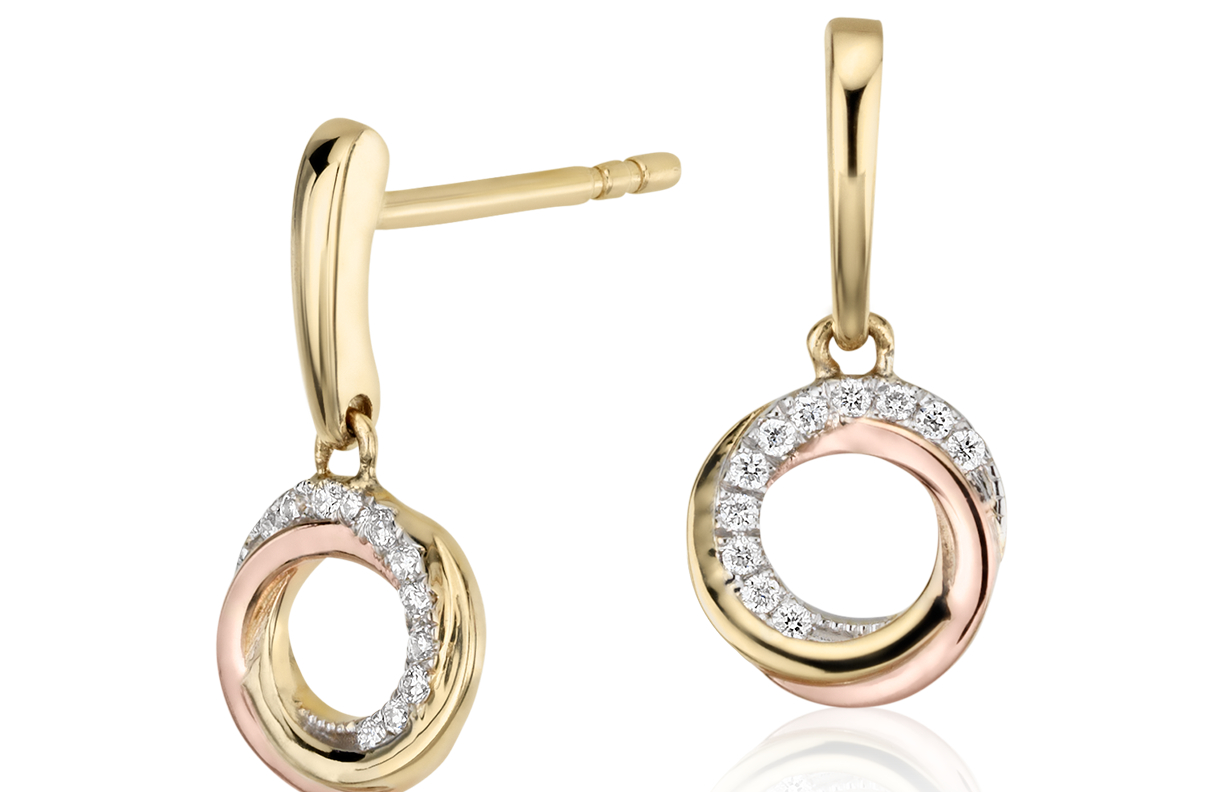 Infinity Diamond Circle Earrings in 14k Tri-Color Gold