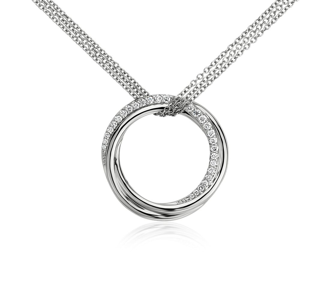 Infinity Diamond Circle Pendant in 14k White Gold (1/4 ct. tw.)