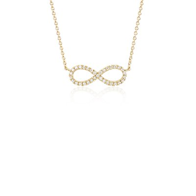 NEW Mini Infinity Diamond Pendant in 14k Yellow Gold