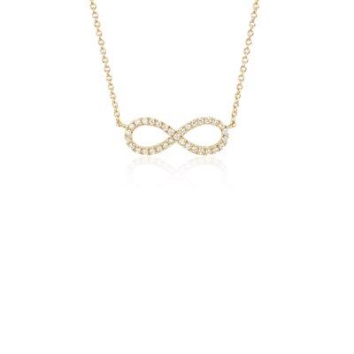 NUEVO. Colgante de diamante con forma del símbolo del infinito en miniatura, en oro amarillo de 14k
