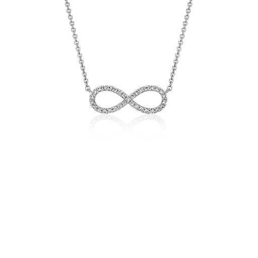 Mini Infinity Diamond Necklace in 14k White Gold