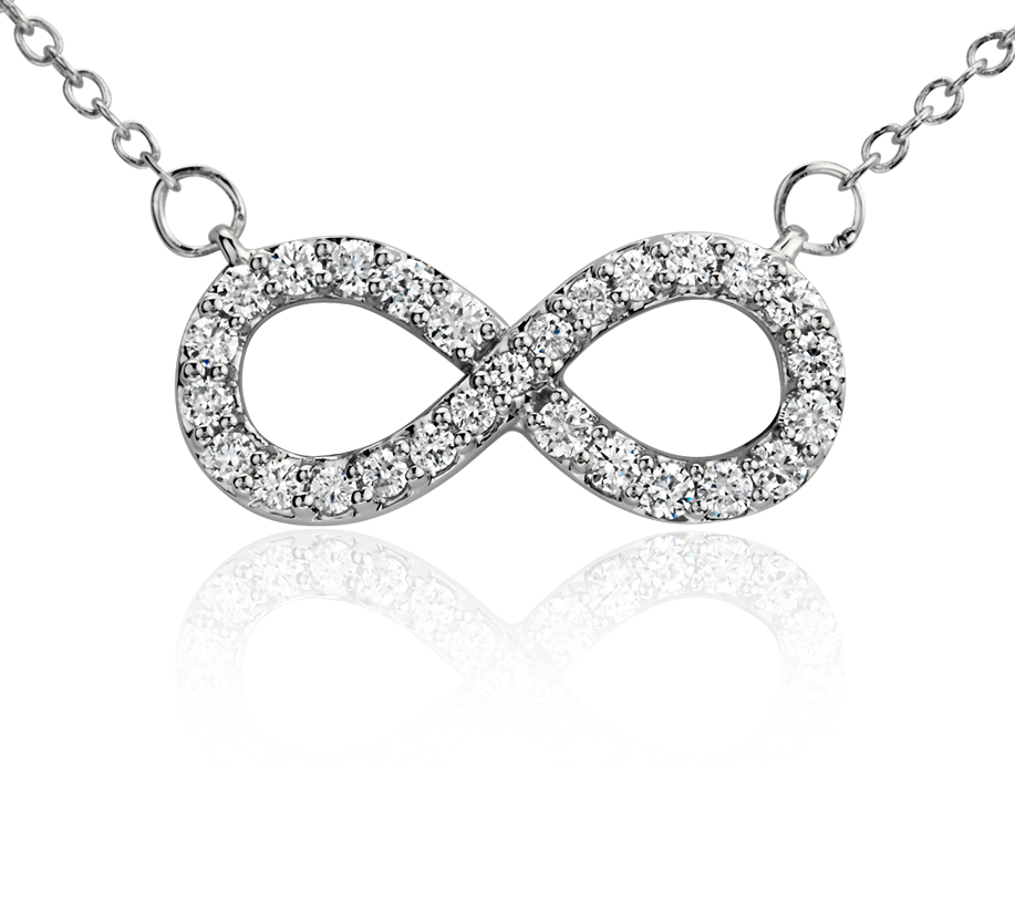 Infinity Diamond Necklace in 14k White Gold