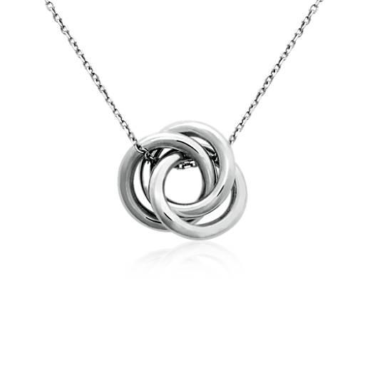 Pendentif nœud amour Infinity en argent sterling