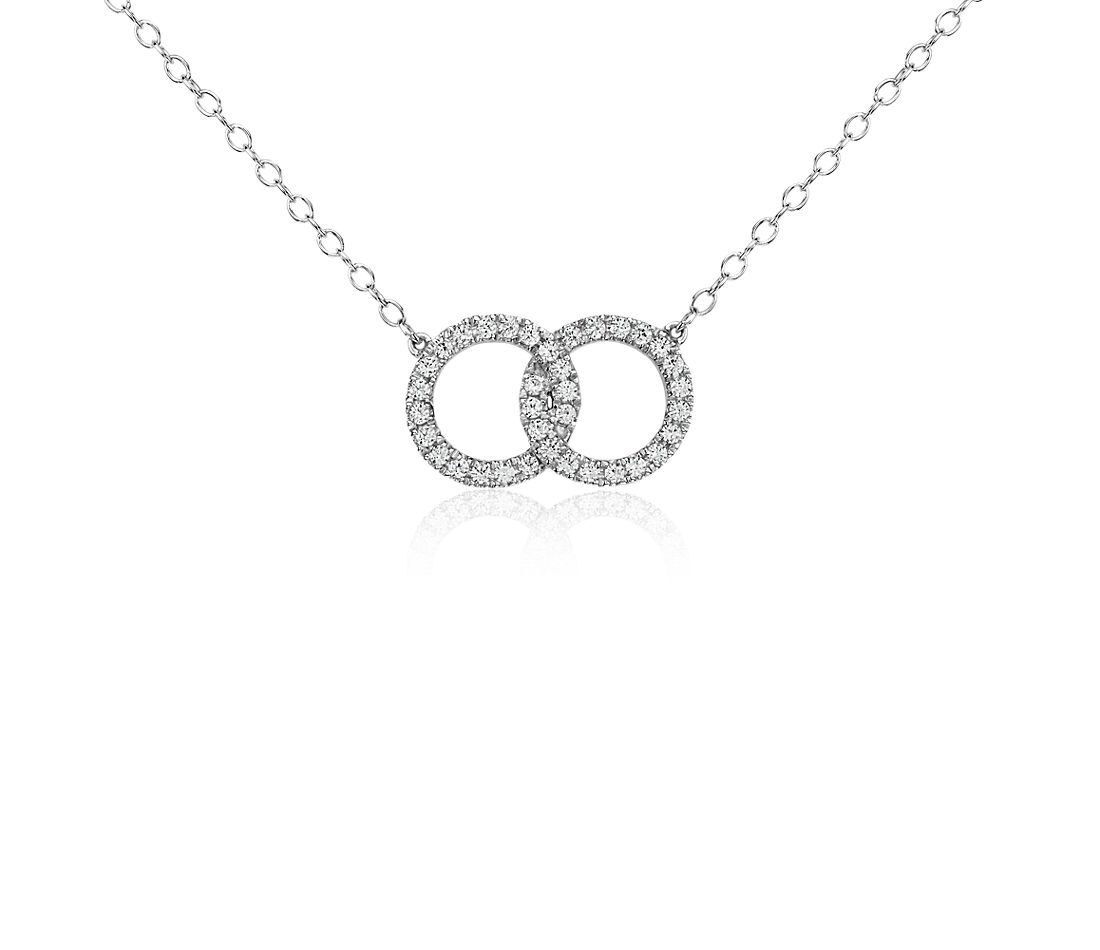 Infinity Ring Diamond Necklace in 14k White Gold