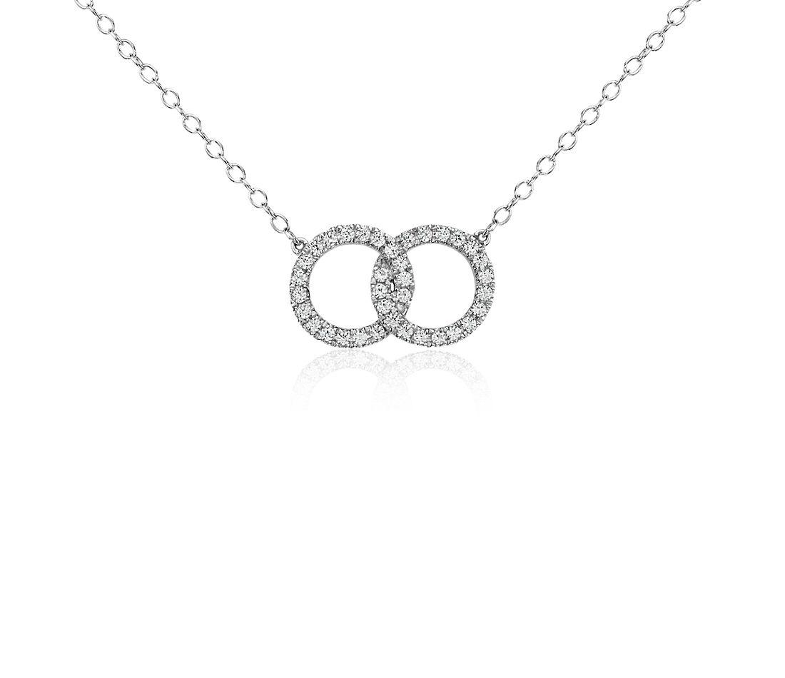 Collar de diamantes con anillos infinitos en oro blanco de 14k