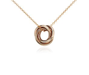 Infinity Rings Pendant in 14k Rose Gold