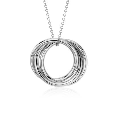 Pendentif anneaux Infinity en or blanc 14carats