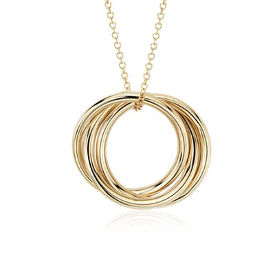 Infinity Rings Pendant in 14k Yellow Gold