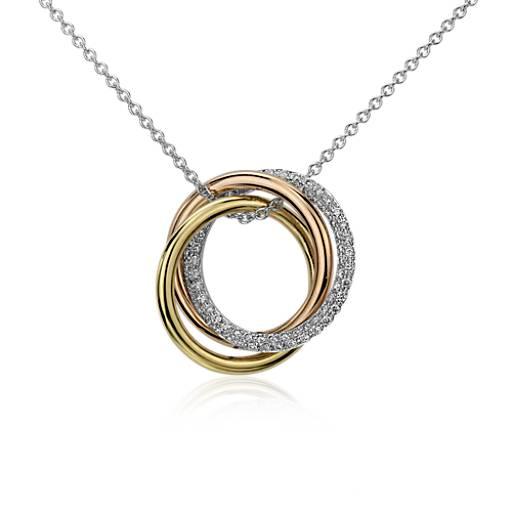 Colgante Infinity con trío de diamantes en oro tricolor de 14k (1/3 qt. total)