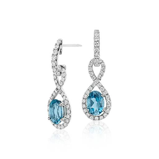 Infinity Aquamarine and Diamond Drop Earrings in 18k White Gold (1.48 ct) (7x5mm)