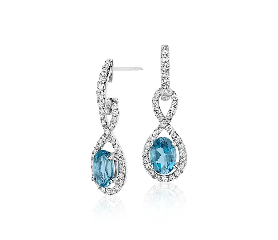 Aquamarine and Diamond Infinity Twist Earrings in 18k White Gold (7x5mm)