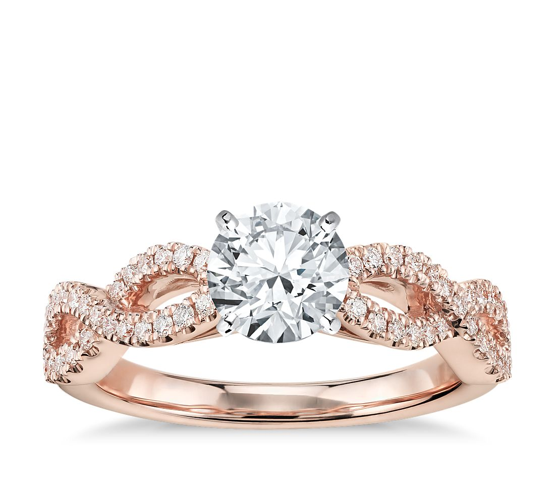 Twisted Infinity Diamond Engagement Ring