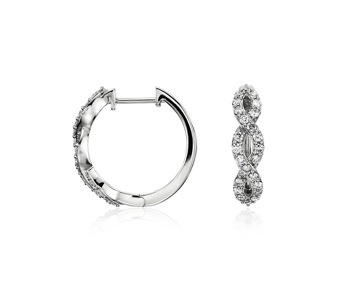 Infinity Diamond Hoop Earrings in 14k White Gold (1/2 ct. tw.)