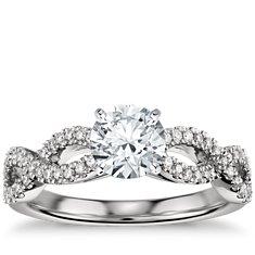 Anillo de compromiso Infinity torcido con micropavé de diamantes en platino (1/4 qt. total)