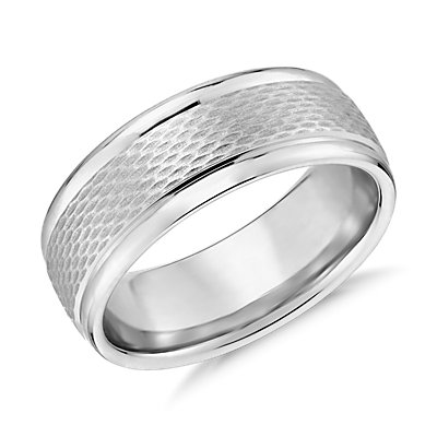 Textured Inlay Wedding Ring in 14k White Gold (7.5mm)