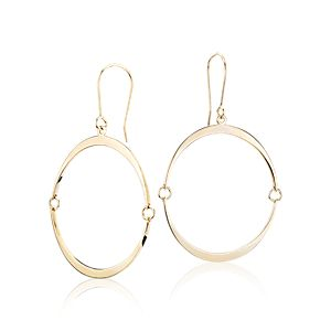 NEW Angela George Inner Circle Drop Earrings in 14k Yellow Gold