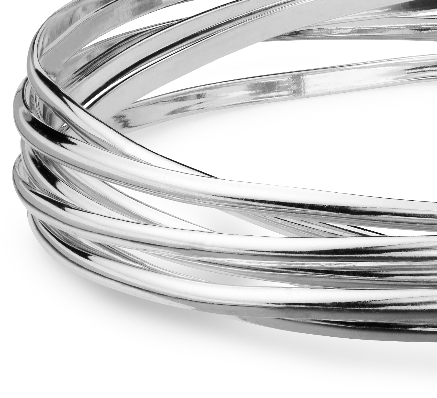Interlocking Bangle Bracelets in Sterling Silver