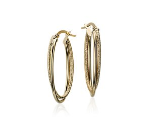 Intertwined Oval Hoop Earrings in 14k Yellow Gold