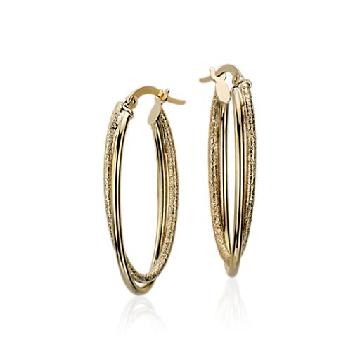 "Intertwined Oval Hoop Earrings in 14k Yellow Gold (1 1/4"")"
