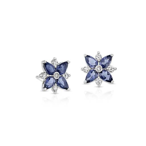 Iolite and Diamond Cluster Stud Earrings in 14k White Gold