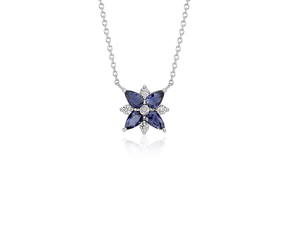 Iolite and Diamond Cluster Necklace in 14k White Gold