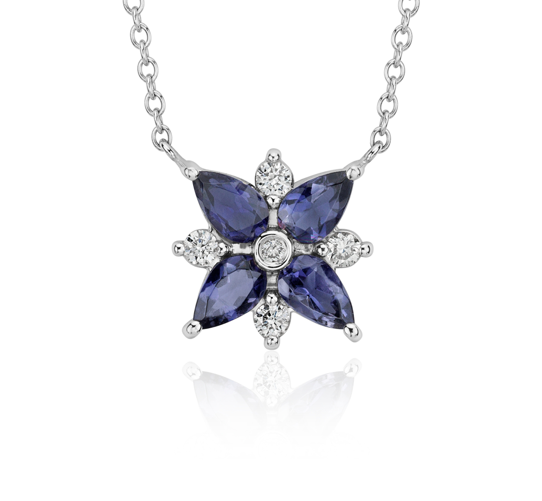Collier grappe diamant et iolite en or blanc 14 carats (5 x 3 mm)