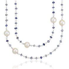 Freshwater Cultured Pearl and Iolite Necklace in Sterling Silver