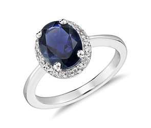 Oval Iolite and White Topaz Ring in Sterling Silver