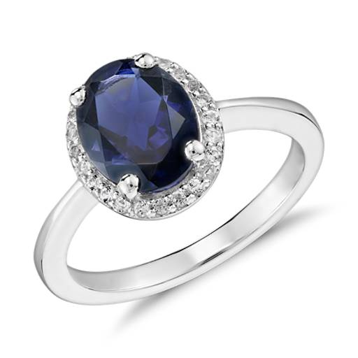 Oval Iolite and White Topaz Ring in Sterling Silver (9x7mm)