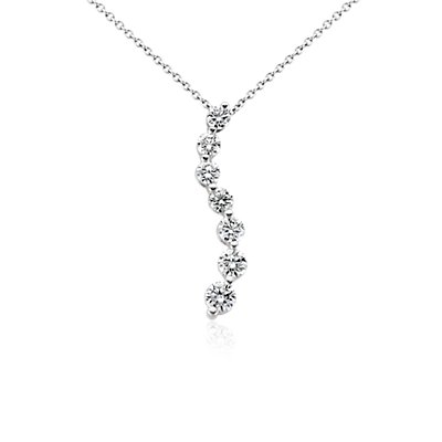 18k White Gold Curved Journey Diamond Pendant (1 ct. tw.)