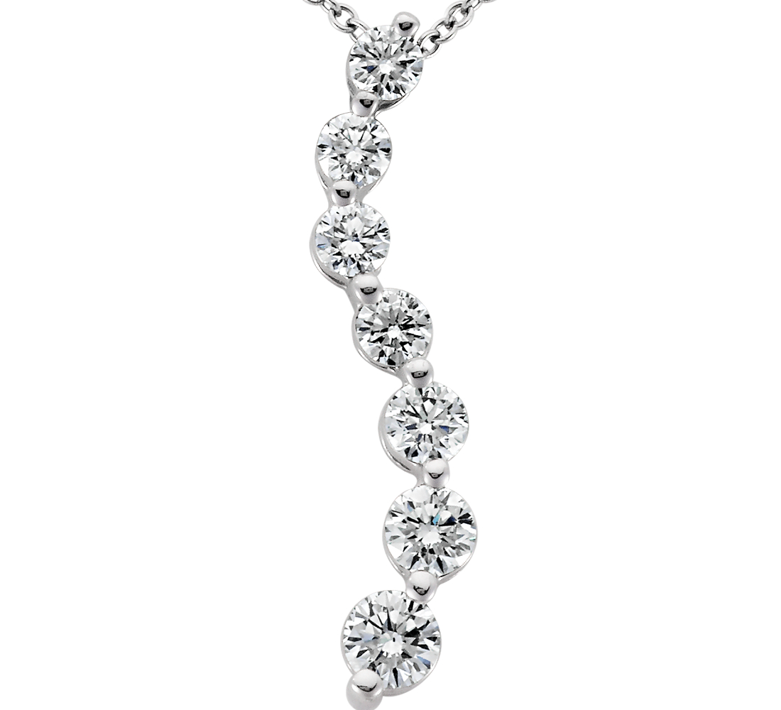 Journey Diamond Pendant in 18k White Gold (1 ct. tw.)