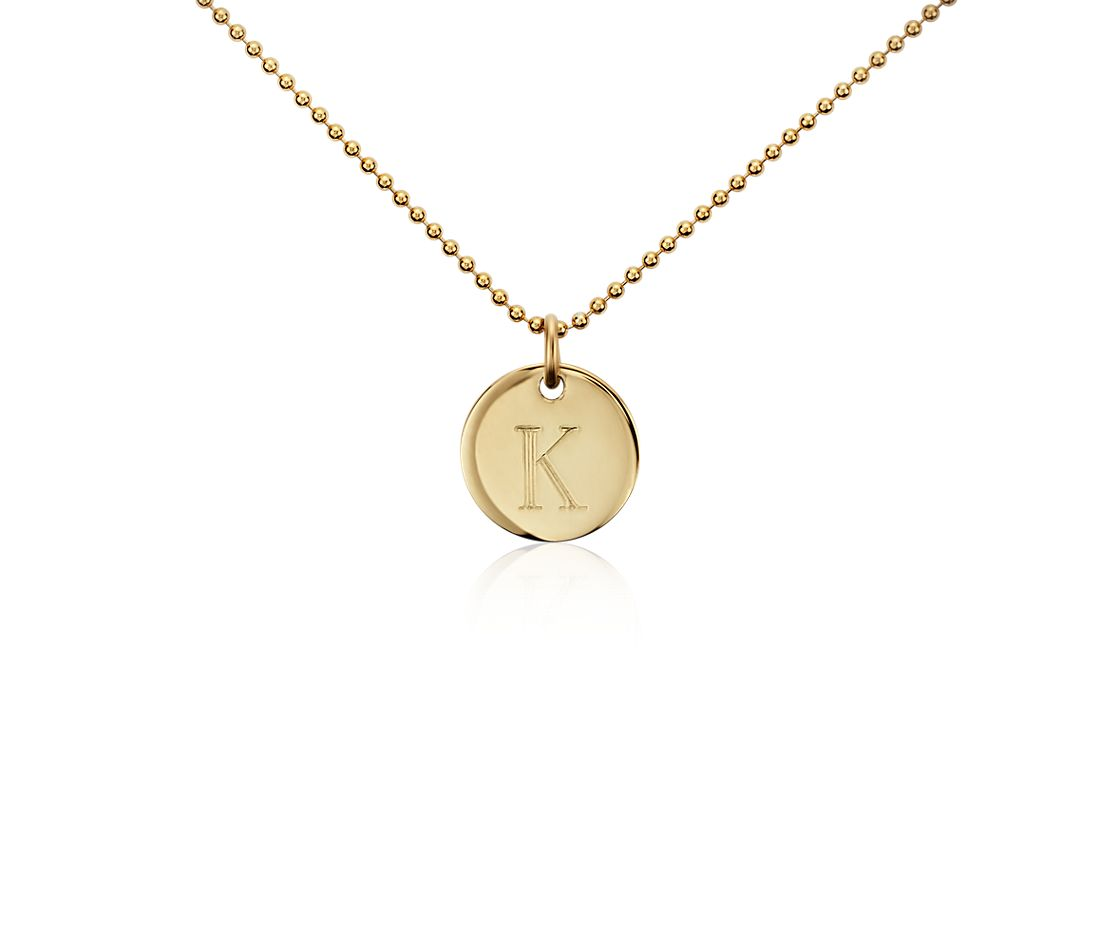 """K"" Mini Initial Pendant in Gold Vermeil"