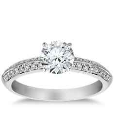 Knife Edge Pavé Diamond Engagement Ring in 14k White Gold