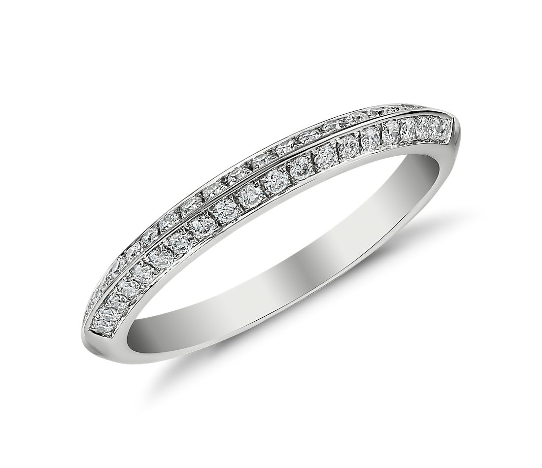Knife Edge Pavé Diamond Ring in 14k White Gold