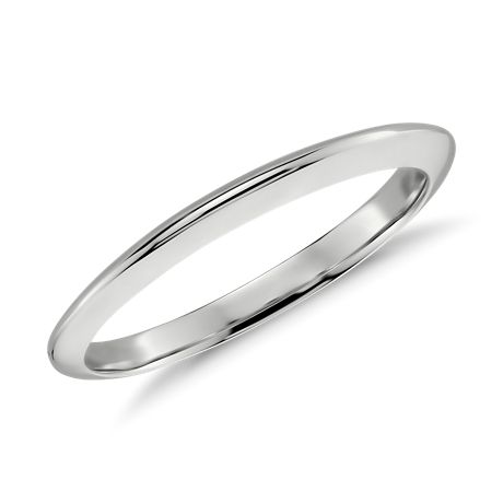 Knife Edge Wedding Band in 14k White Gold