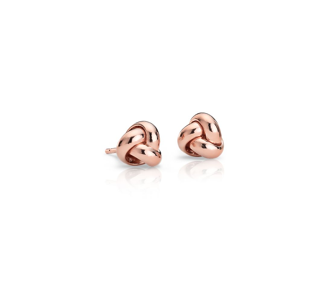 Petite Trinity Love Knot Earrings in 14k Rose Gold (7mm)