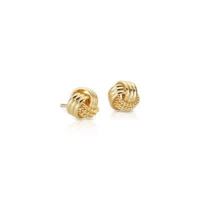 puces d'oreille à nœud en vermeil or jaune 18carats
