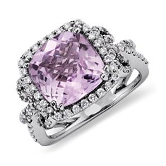 Kunzite and Diamond Scroll Ring in 14k White Gold