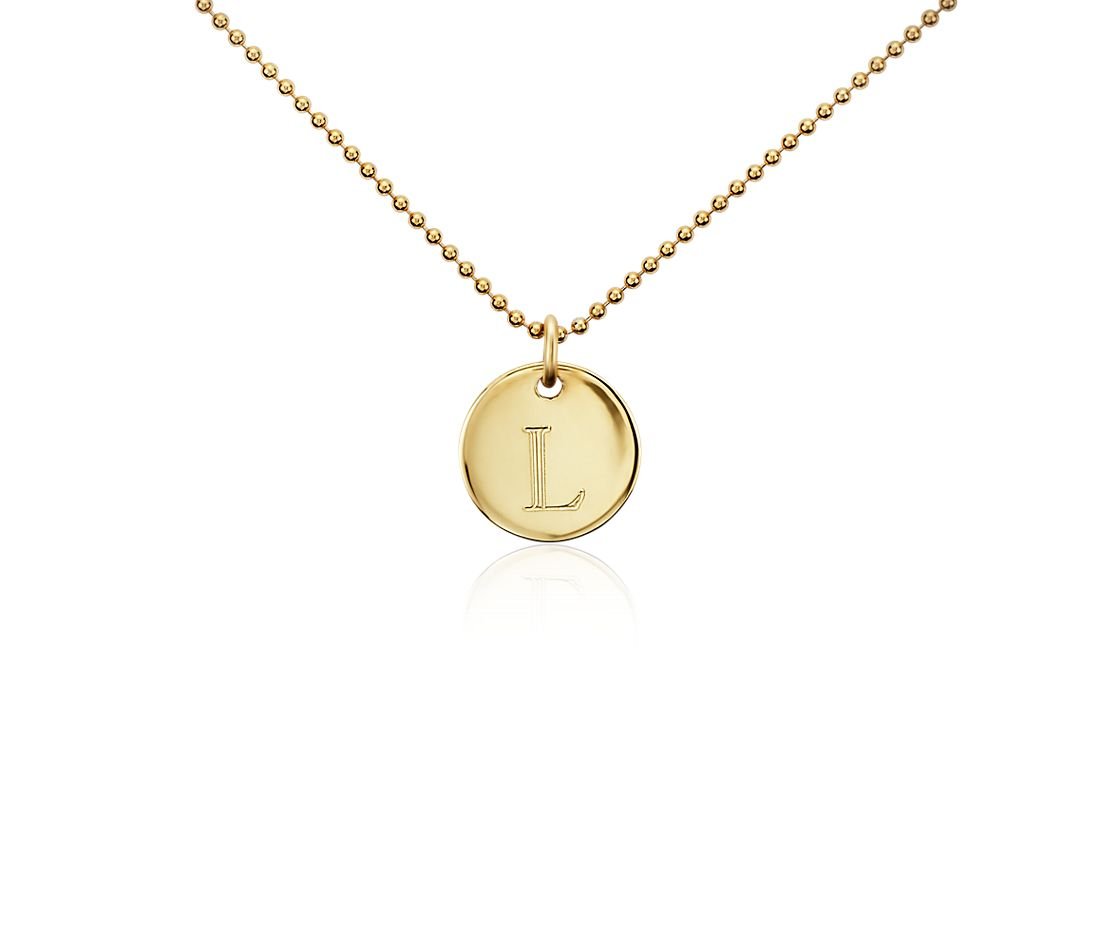 """L"" Mini Initial Pendant in Gold Vermeil"