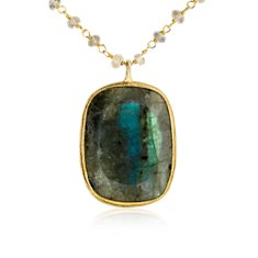 Labradorite Necklace in 18k Yellow Gold Vermeil