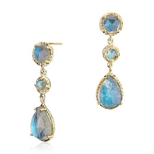 Labradorite Dangle Earrings in 14k Yellow Gold (11x8mm)