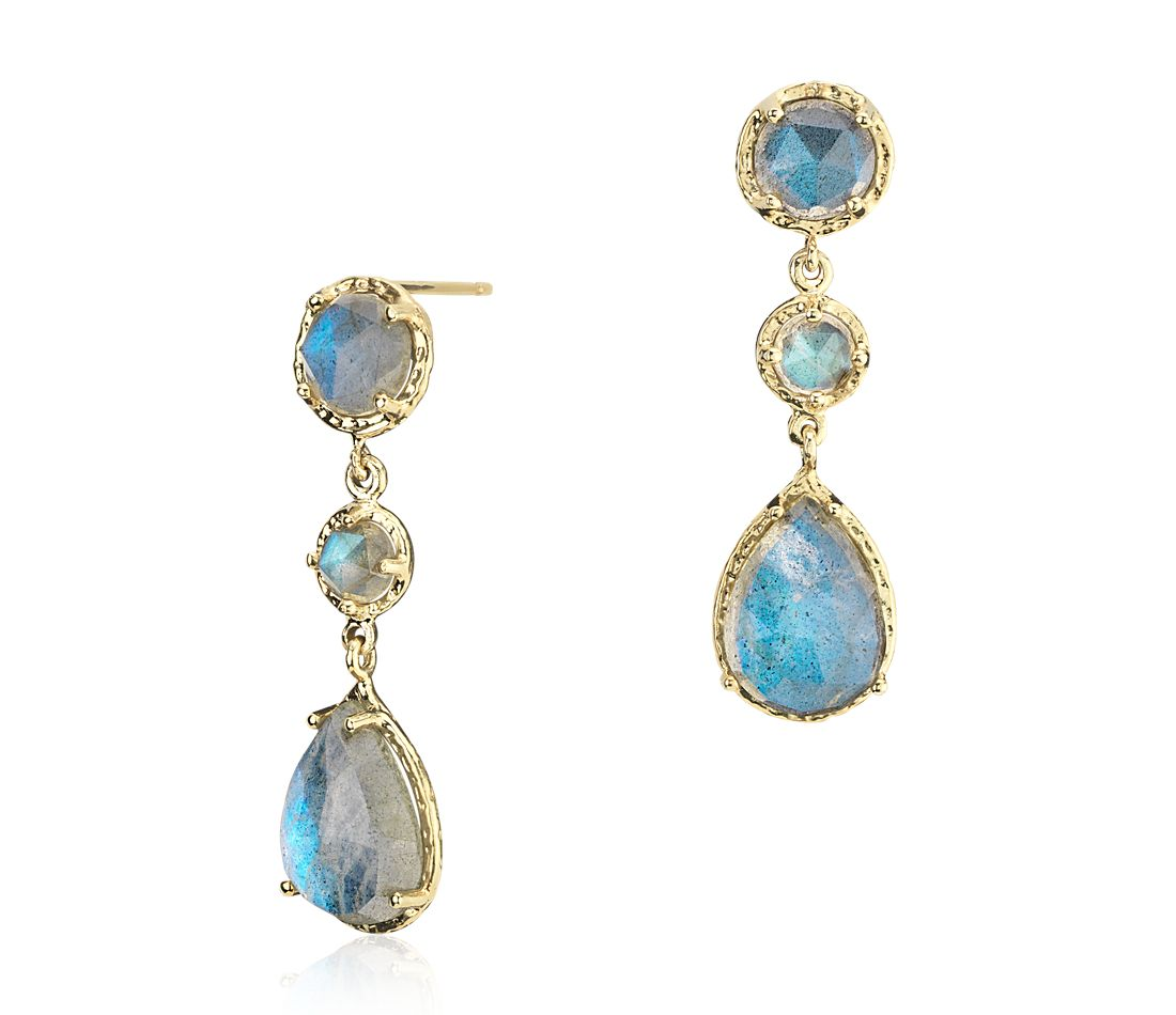 Labradorite Dangle Earrings in 14k Yellow Gold