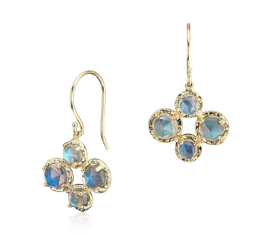 Labradorite Drop Earrings in 14k Yellow Gold