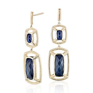 NEW Frances Gadbois Labradorite and Lapis Doublet Strie Dangle Earrings in 14k Yellow Gold (Limited Edition)