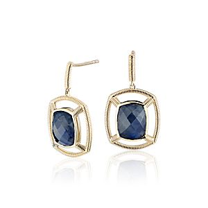 NEW Frances Gadbois Labradorite and Lapis Doublet Strie Drop Earrings in 14k Yellow Gold (Limited Edition)