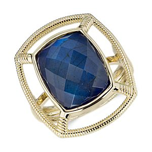 NEW Frances Gadbois Labradorite and Lapis Doublet Strie Cocktail Ring in 14k Yellow Gold (Limited Edition)