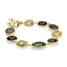 Labradorite, Lemon, and Smokey Quartz Bracelet in Gold Vermeil