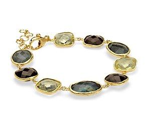 Labradorite, Lemon Quartz, and Smoky Quartz Bracelet in Gold Vermeil