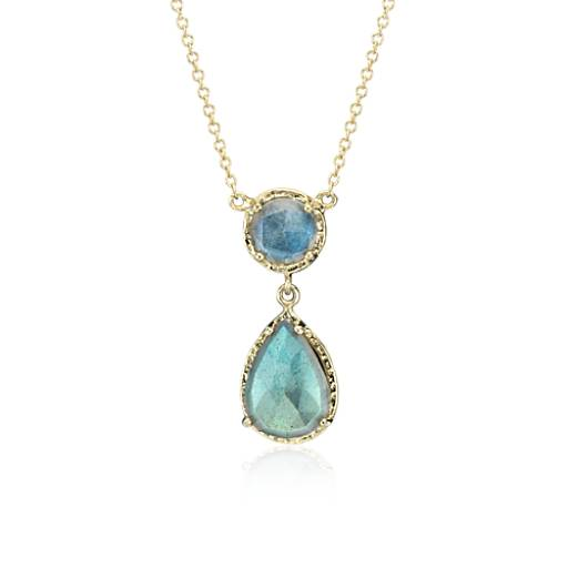Labradorite Teardrop Necklace in 14k Yellow Gold