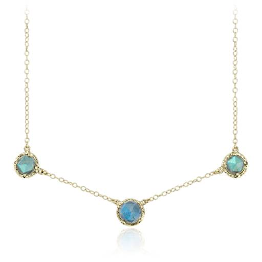 Labradorite Stationed Necklace in 14k Yellow Gold (7mm)